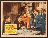 5g065 NIGHTMARE ALLEY signed LC #7 R55 by Coleen Gray, who's looking at Tyrone Power in bar!