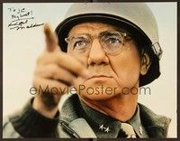 5g011 PATTON signed color 11x14 still '70 by Karl Malden, who's in super close up as Omar Bradley!