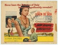 5g020 SCANDAL IN SORRENTO signed TC '57 by Sophia Loren, a beauty of Italy magnificently revealed!