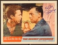 5g070 SECRET INVASION signed LC #7 '64 by BOTH Stewart Granger AND Edd Byrnes, both in close up!