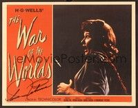 5g016 WAR OF THE WORLDS signed LC REPRO '53 by Ann Robinson, who's being touched by the alien!