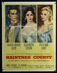 5p016 RAINTREE COUNTY 2sh '57 art of Montgomery Clift, Elizabeth Taylor & Eva Marie Saint!