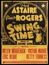 5p017 SWING TIME 2sh '36 Jerome Kern, artwork of Fred Astaire dancing with Ginger Rogers!