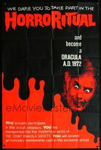 5p061 DRACULA A.D. 1972 English 40x60 '72 Hammer, great image of crazed vampire Christopher Lee!