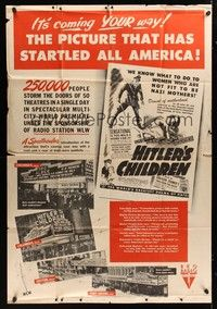 5p010 HITLER'S CHILDREN 40x60 '43 the picture that startled all of America is coming YOUR way!