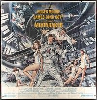 5p001 MOONRAKER 6sh '79 art of Roger Moore as James Bond & sexy space babes by Gouzee!