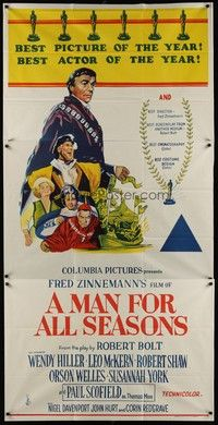 5p052 MAN FOR ALL SEASONS Aust 3sh '67 Paul Scofield, Robert Shaw, Best Picture Academy Award!