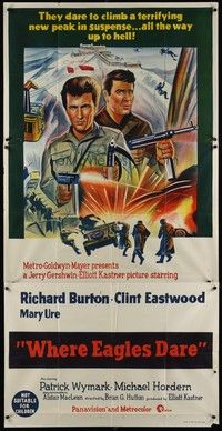 5p053 WHERE EAGLES DARE Aust 3sh '68 completely different art of Clint Eastwood & Richard Burton!