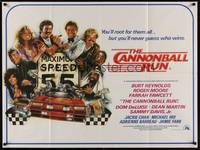 5p069 CANNONBALL RUN British quad '81 Burt Reynolds, Farrah Fawcett, Drew Struzan car racing art!