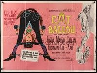 5p070 CAT BALLOU British quad '65 classic sexy cowgirl Jane Fonda, Lee Marvin, great artwork!