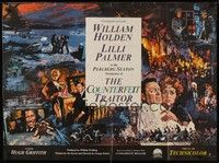 5p071 COUNTERFEIT TRAITOR British quad '62 art of William Holden & Lilli Palmer by Howard Terpning!