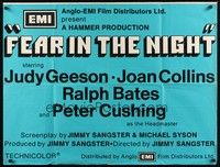 5p074 FEAR IN THE NIGHT British quad '72 Judy Geeson, Joan Collins, Cushing as the Headmaster!