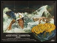 5p078 GOLD British quad '74 Roger Moore, Susannah York, cool different artwork!