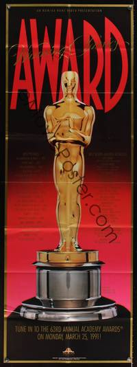5p040 63rd ANNUAL ACADEMY AWARDS door panel '91 full-length art of Oscar statuette!