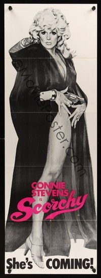 5p045 SCORCHY door panel '76 full-length art of sexy barely-dressed Connie Stevens in black cape!