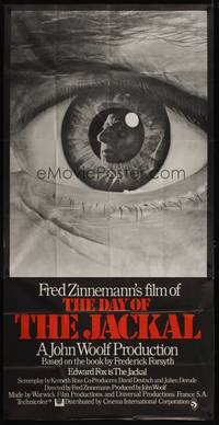 5p054 DAY OF THE JACKAL English 3sh '73 Fred Zinnemann assassination classic, best c/u eyeball art