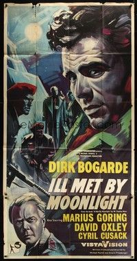 5p055 ILL MET BY MOONLIGHT English 3sh '58 Michael Powell & Emeric Pressburger, Dirk Bogarde