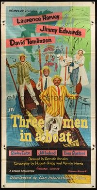 5p058 THREE MEN IN A BOAT English 3sh '56 Laurence Harvey, wacky art of cast on gondola!