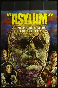 5p060 ASYLUM English 40x60 '72 Peter Cushing, Britt Ekland, Robert Bloch, cool horror art!