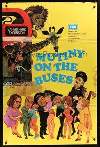 5p062 MUTINY ON THE BUSES English 40x60 '72 Hammer, wacky artwork of cast by Arnaldo Putzu!