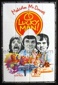 5p063 O LUCKY MAN English 40x60 '73 3 images of Malcolm McDowell, directed by Lindsay Anderson!