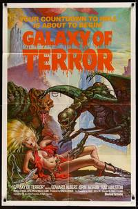 5p027 GALAXY OF TERROR short stop '81 great sexy Charo fantasy artwork of monsters attacking girl!