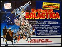 5p030 BATTLESTAR GALACTICA subway poster '78 great sci-fi montage art by Robert Tanenbaum!