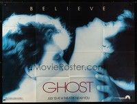 5p034 GHOST subway poster '90 classic romantic close up of dead Patrick Swayze & sexy Demi Moore!