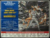 5p002 MOONRAKER subway poster '79 art of Roger Moore as James Bond & sexy space babes by Gouzee!