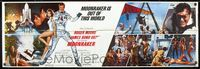 5p005 MOONRAKER banner '79 art of Roger Moore as James Bond by Daniel Gouzee!