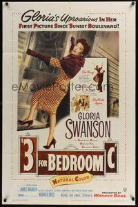 6p010 3 FOR BEDROOM C 1sh '52 cool art of glamorous Gloria Swanson boarding train!