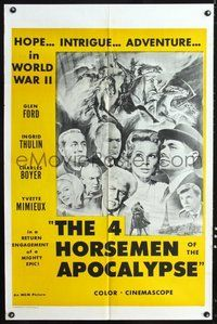 6p012 4 HORSEMEN OF THE APOCALYPSE military 1sh R60s different image of cast + Brown art!