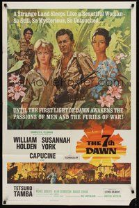 6p019 7th DAWN 1sh '64 Howard Terpning art of William Holden, sexy Susannah York & Capucine!