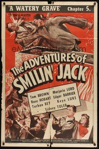 6p028 ADVENTURES OF SMILIN' JACK Chap5 1sh '42 Tom Brown serial, A Watery Grave!