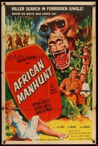 6p030 AFRICAN MANHUNT 1sh '54 in the forbidden jungle where no white man dared go!