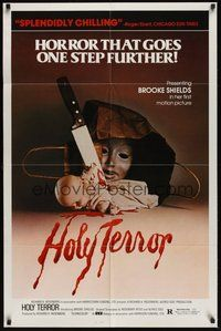 6p036 ALICE SWEET ALICE 1sh R81 first Brooke Shields, disturbing knife-in-doll image, Holy Terror!