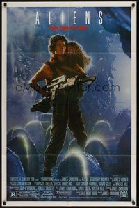 6p039 ALIENS Ripley 1sh '86 James Cameron, really cool image of Sigourney Weaver & Carrie Henn!