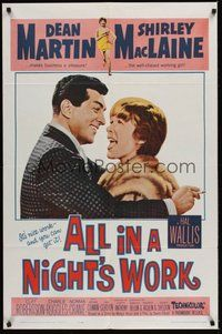 6p040 ALL IN A NIGHT'S WORK 1sh '61 smoking Dean Martin holds sexy Shirley MacLaine!