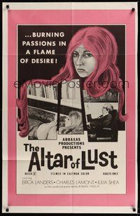 6p045 ALTAR OF LUST 1sh '71 Roberta Findlay, Harry Reems, burning passions in a flame of desire!