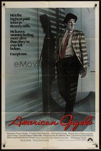 6p051 AMERICAN GIGOLO int'l 1sh '80 male prostitute Richard Gere is being framed for murder!