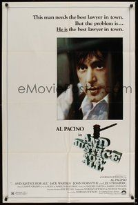 6p057 AND JUSTICE FOR ALL 1sh '79 directed by Norman Jewison, Al Pacino is out of order!