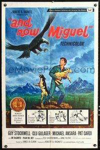 6p058 AND NOW MIGUEL 1sh '66 artwork of Guy Stockwell protecting lamb from hawk!