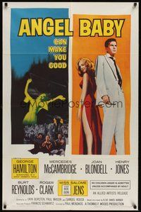 6p060 ANGEL BABY 1sh '61 full-length George Hamilton standing with sexiest Salome Jens!
