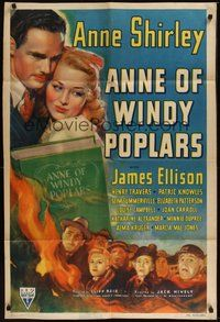 6p065 ANNE OF WINDY POPLARS 1sh '40 Anne Shirley & James Ellison, from L.M. Montgomery book!