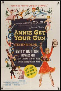 6p066 ANNIE GET YOUR GUN 1sh R62 Betty Hutton as the greatest sharpshooter, Howard Keel!