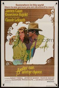6p067 ANOTHER MAN ANOTHER CHANCE 1sh '77 Claude Lelouch, art of James Caan & Genevieve Bujold!