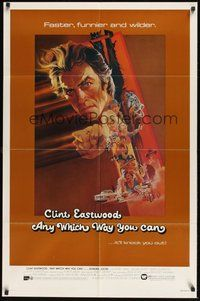 6p070 ANY WHICH WAY YOU CAN 1sh '80 cool artwork of Clint Eastwood & Clyde by Bob Peak!