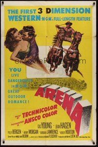 6p075 ARENA 1sh '53 3-D, Gig Young, Jean Hagen, Polly Bergen, YOU live dangerously!