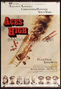 6p023 ACES HIGH English 1sh '76 Malcolm McDowell, really cool WWI airplane dogfight art!