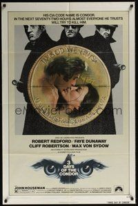 6p009 3 DAYS OF THE CONDOR 1sh '75 secret agent Robert Redford & Faye Dunaway!